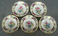Set of 5 Carl Thieme Dresden Hand Painted Floral & Gold 3 Inch Butter Pats