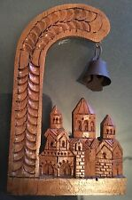 """Beautiful Hand Carved Wooden City w Bell 3 3/4"""" Tall x 2 1/4"""" Wide"""