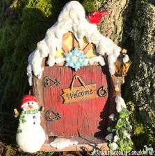 Resin Christmas FAIRY HOUSE DOOR garden ornament decoration Pixie lover gift