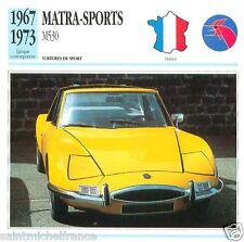 MATRA-SPORTS M530 1967 1973  CAR VOITURE FRANCE CARTE CARD FICHE