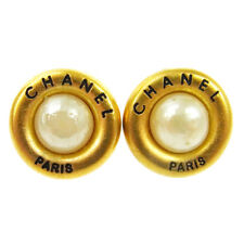 "Auth CHANEL Vintage CC Button Imitation Pearl Earrings 0.9 "" Clip-On AK16031"