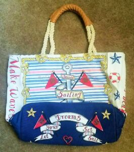 BRIGHTON Red White Blue Nautical Beach Set Sail Rope Strap Canvas Tote BAG Large