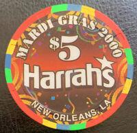 HARRAH'S CASINO CHIP $5 - Mardi Gras 2000 - NEW ORLEANS LA- Paulson H&C