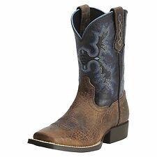 CHILDREN'S/YOUTH ARIAT TOMBSTONE SQUARE TOE WESTERN BOOTS BLUE UPPER 10012794