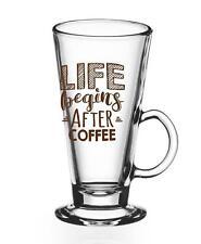 6  Latte Macchiato Gläser mit Motiv und 6 Edelstahl-Löffeln Gratis Kaffeegläser