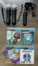2 OEM Sony PS3 Move Motion + 1 Navigation Controllers + Camera + 4 Games