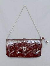New BRIGHTON Burgundy Croc Embossed Patent Leather Clutch-Evening Bag-Purse-NWOT