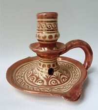 Antique/Vintage HISPANO MORESQUE Pottery Candlestick Chamberstick  COPPER LUSTRE