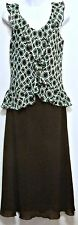 Los Angeles Gal Ladies Aqua and Brown Polyester Ruffle Dress - Size 8