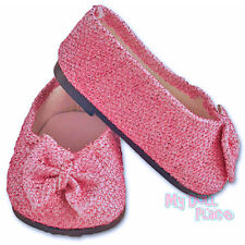 Pink Glitter Bow Shoes Ballet Flats Dress fit 18 inch American Girl Doll Clothes