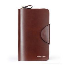 Teemzone Mens Leather Business Clutch Bags Zipper Wallet Handbag Checkbook Purse