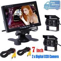 "12V-24V 7"" LCD Monitor Car Rear View Kit + 2x IR Reversing Camera for Bus Truck"