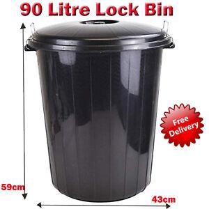 Large Plastic Lock Bin Indoor Outdoor Garden Rubbish Dustbin Locking Lid Bin 90L