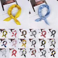Head Neck Tie Hair Band Small Square Scarf Bandana Handkerchief Silk Feel Satin