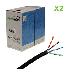 CAT6 1000FT UTP Cable Solid 23AWG Black Ethernet LAN Bulk Wire CAT6 RJ45 2-pack