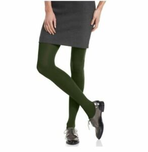 HUE super opaque smooth control top women's tights-Shadow Olive Green -Size 1&2