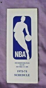 1973-74 NBA Fold-out League Schedule