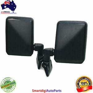 LH+RH Door Mirror Black Pair For Toyota Land Cruiser 70 75 78 Series Ute 85-07