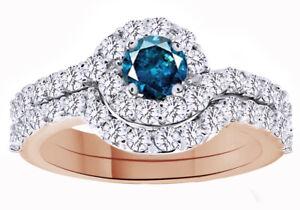 1 1/2 Ct Round Blue & Simulated 18K Rose Gold Over Halo Wedding Ring Set