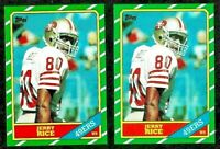 (2) ICONIC 1986 TOPPS JERRY RICE RC #161 MINT - GREAT PSA APPEAL ROOKIE CARD LOT