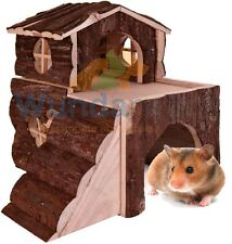 Trixie Two Storey Bjork Syrian Hamster Gerbil House With Ramps Natural Wood 6161