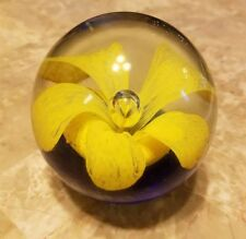 Vintage Art Glass Paperweight, Yellow Flower & Cobalt Blue Base, Hand Blown