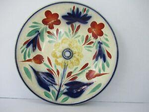 Antiguo Alemán Cerámica Placa Kris Mark Diseño Floral Porcelana Azul Rojo