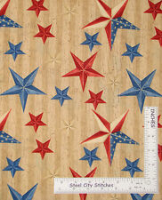 Patriotic Star Cotton Fabric Country Primitive Wilmington We The People ~ Yard