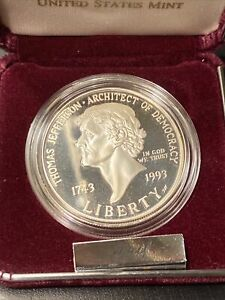1993 Thomas Jefferson 250th Anniversary Silver Proof Dollar Coin