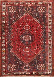 Antique Tribal Geometric Abadeh Oriental Hand-Knotted Area Rug 5x7 Nomad Carpet