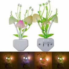 Romantic Colorful Sensor LED Mushroom Night Light Wall Lamp Home Decor Plug GJ