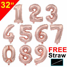 32'' Rose Gold Giant Age 1st Happy Birthday Party Foil Balloon Number Decoration