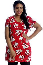 New Womens Top Plus Size T-Shirt Ladies Santa Bag Christmas Long Party Nouvelle