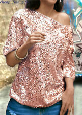 Women Sequin Sparkle Glitter 3/4 Sleeve Cocktail Party Tops Blouse T-Shirt In UK