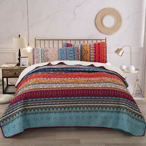 3PCs Bohemia Quilted Bedspread Bed Throw Comforter Bedding Set Double King Sizes