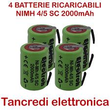 4x Batteria ricaricabile NiMh NI-MH 4/5 SC 1,2V 2000mAh con linguette a saldare