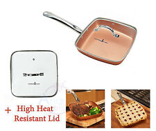 """Nonstick Square Fry Pan with Glass Lid 9,5"""" Copper Chef Ceramic Frying Skillet"""