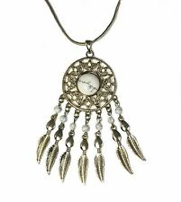 Long Necklace Dreamcatcher White Stone Beads Silver Tone Feathers Snake Chain