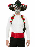 Mens Day Of The Dead Sombrero + Accesories Mexican Halloween Fancy Dress