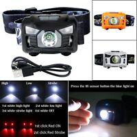 3000Lumen LED IR Sensor Headlamp USB Rechargeable Camping Hiking Headlight