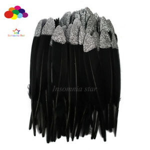 10-100 Pcs Duck Feather Black Dyed Sliver Glitter 6-8Inch/15-20cm Diy Carnival