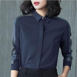 Women Business Casual Long Sleeve Chiffon Button-Down Shirt Blouse Tops