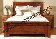 Wooden Indian King size Double Bed  with 2 matching bed sides ( round carving )