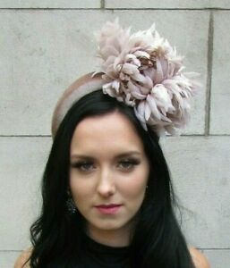 Beige Nude Flower Feather Velvet Fascinator Wide Thick Padded Headband 7641