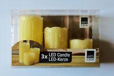 3er-Pack LED Kerzen Wachs Kerze Echtwachskerzen Ledkerzen Echtwachs Neu