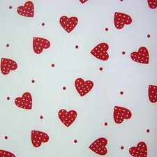 White 100 Cotton Red Polka Dot Hearts Fabric per Metre