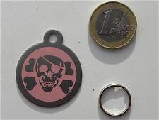 MEDAILLE gravée pirate corsaire tete de mort rose CHIEN collier harnais