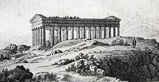 Tempio a Segest Sicilia tempio greco di Segesta ORIGINALE 1835 Sicilia Sicily