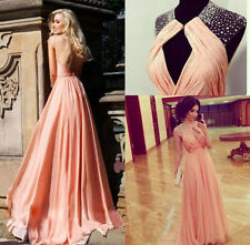 Women's Long Chiffon Bridesmaid Dress Sleeveless Formal Evening Prom Party Gown