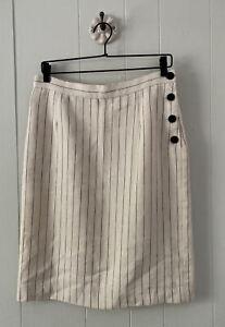 Lauren Ralph Lauren Ivory Black Pinstripe Wool Linen Pencil Skirt Lined Sz 10